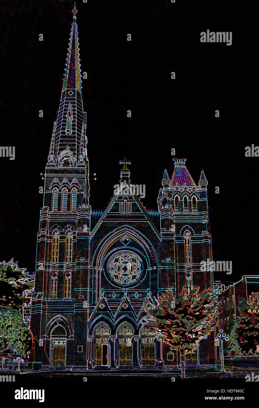Victorian Gothic Style Church - Digitally Manipulated Image with Glowing Edges, Abstract Architecture on a Black - Stock Image