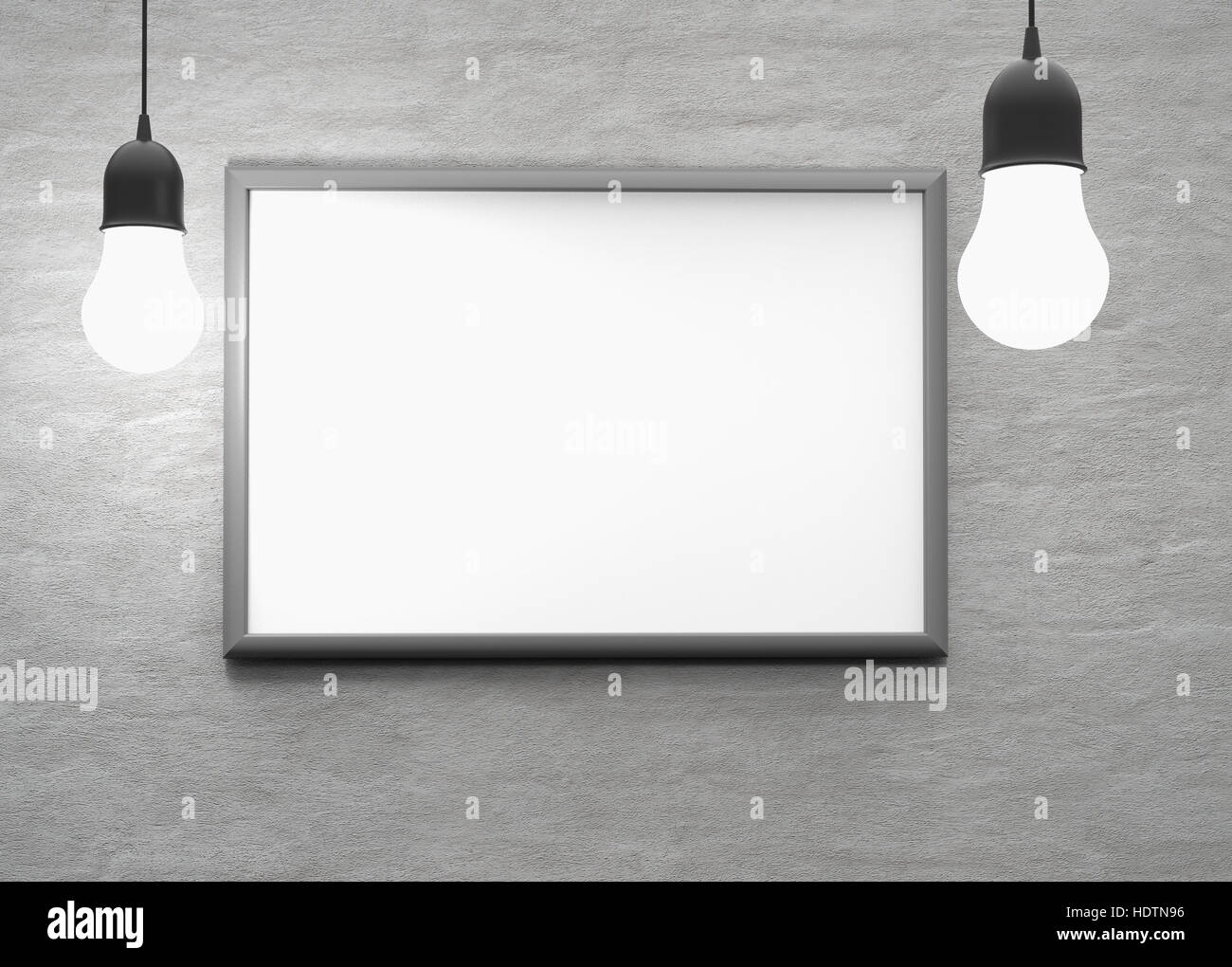 two bulb lights with frame on the wall. 3d render Stock Photo ...