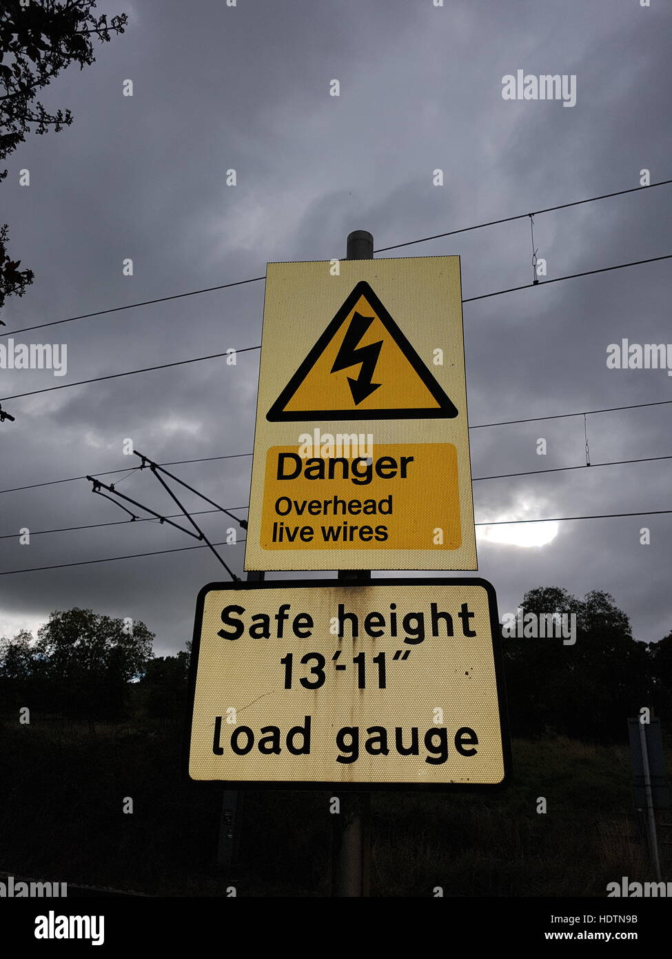 Danger live cables,Warning signs - Stock Image