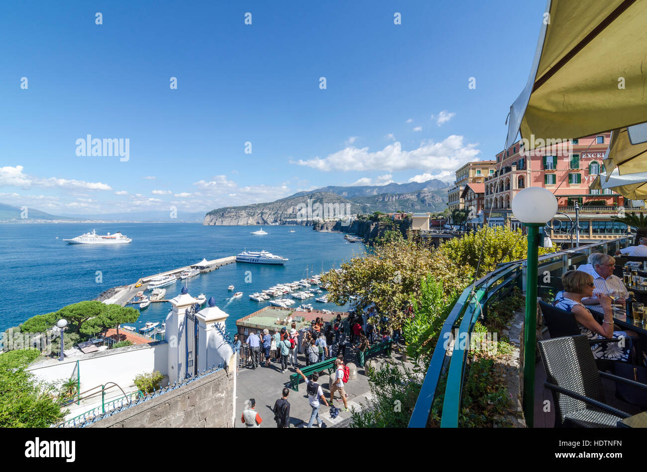View over the Gulf of Naples, Porto di Sorrento and Marina Piccola from Sorrento, Italy - Stock Image