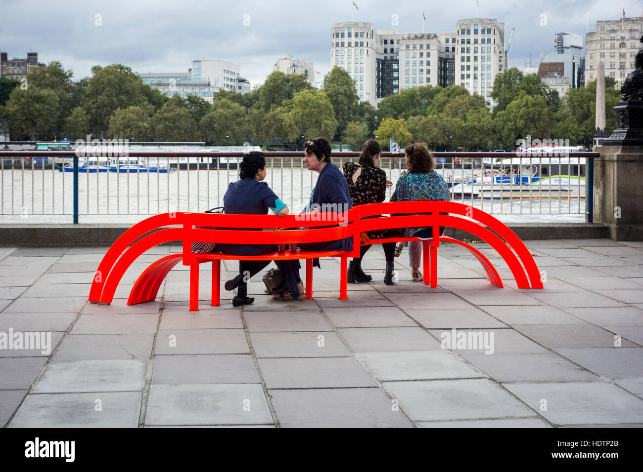 Modified Social Benches NY by Danish artist Jeppe Hein, Southbank, London, UK - Stock Image