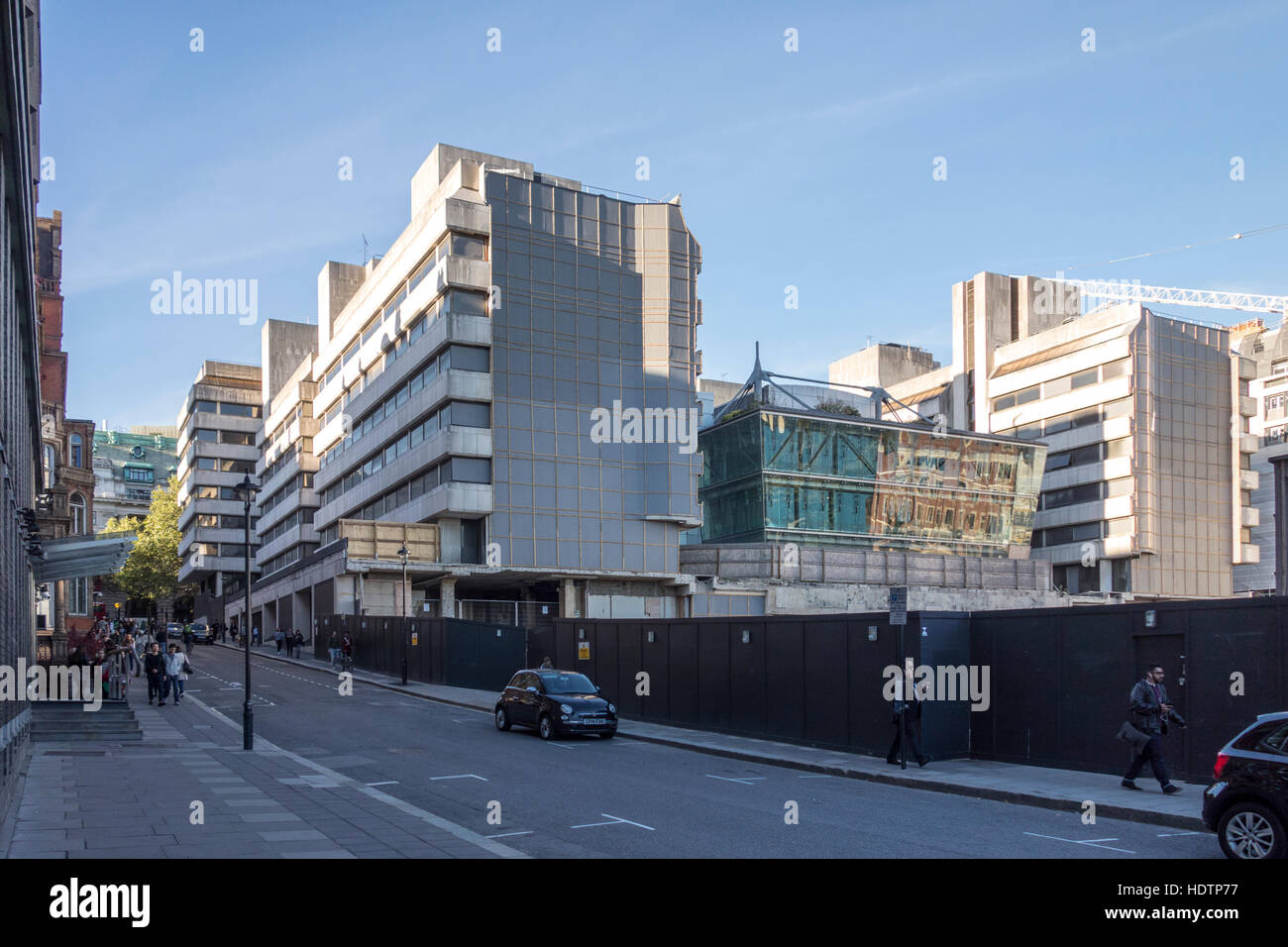 Arundel Great Court demolition viewed from Surrey Street, London, UK - Stock Image