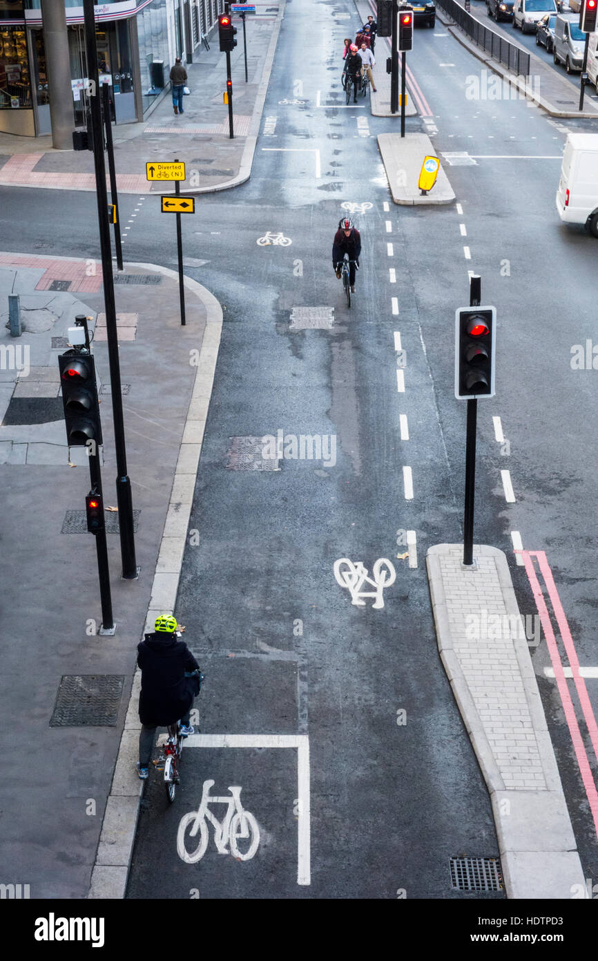 Junction of Lower Thames Street and Fish Street Hill, London, UK - Stock Image
