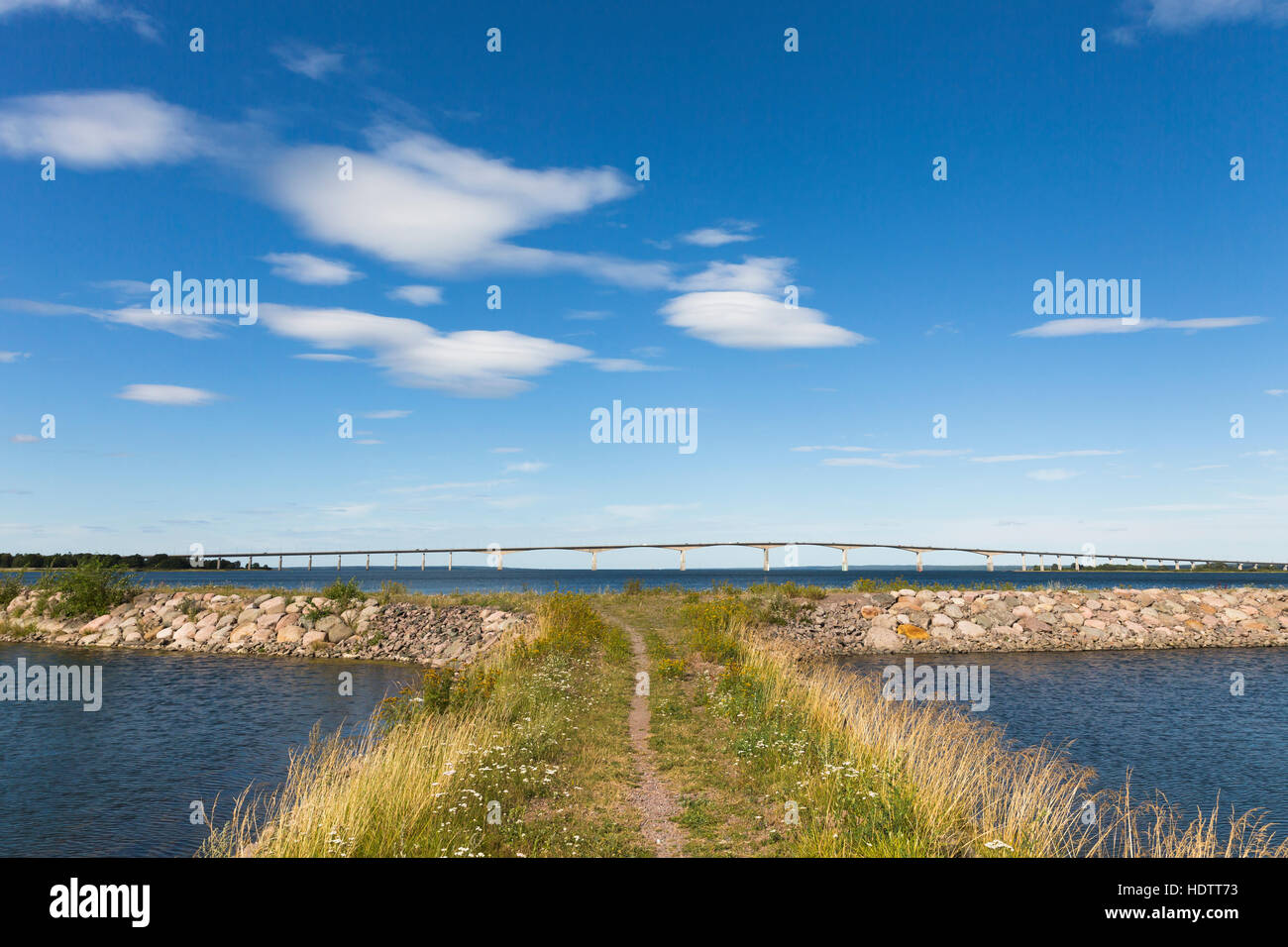 The Oland bridge in Sweden. The bridge is one of the longest bridges in Europe and is connecting island Oland and - Stock Image