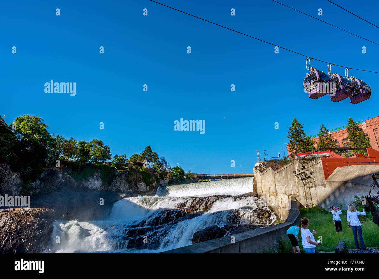 Cable cars on the Riverfront Park development in downtown Spokane on the Spokane Falls SkyRide Stock Photo