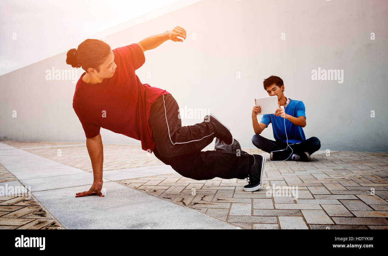 Breakdance Freestyle Hip-Hop Streetdance Teenager Concept Stock Photo