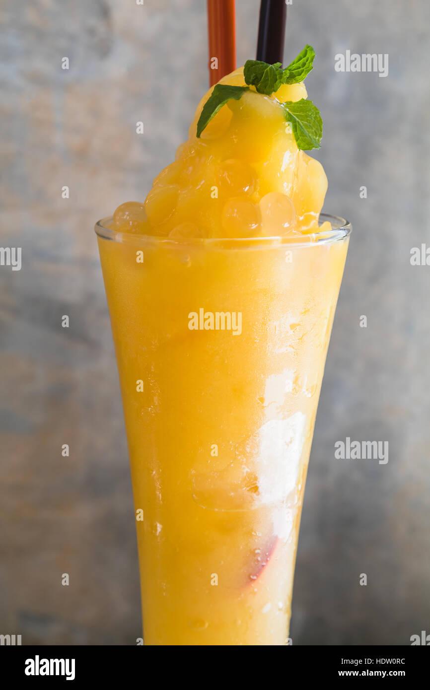 mango smoothie with jelly - Stock Image