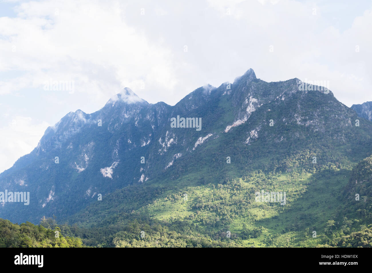 cloud cover on mountains - Stock Image