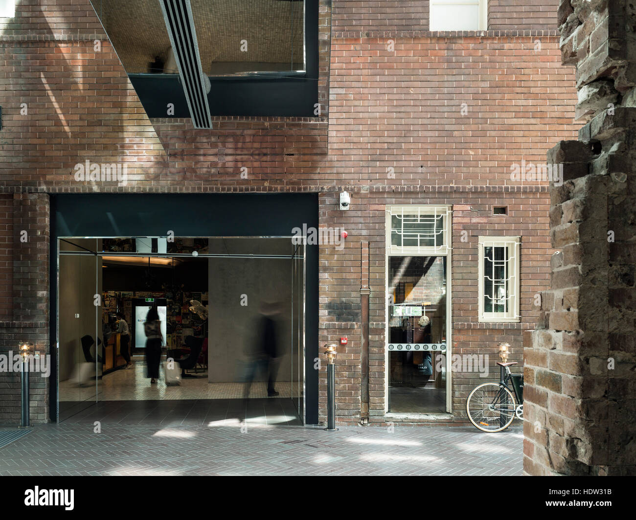 view from hotel room entry across entry atrium to reception entry the old clare hotel sydney australia architect tonkin zulaikha greer 2015