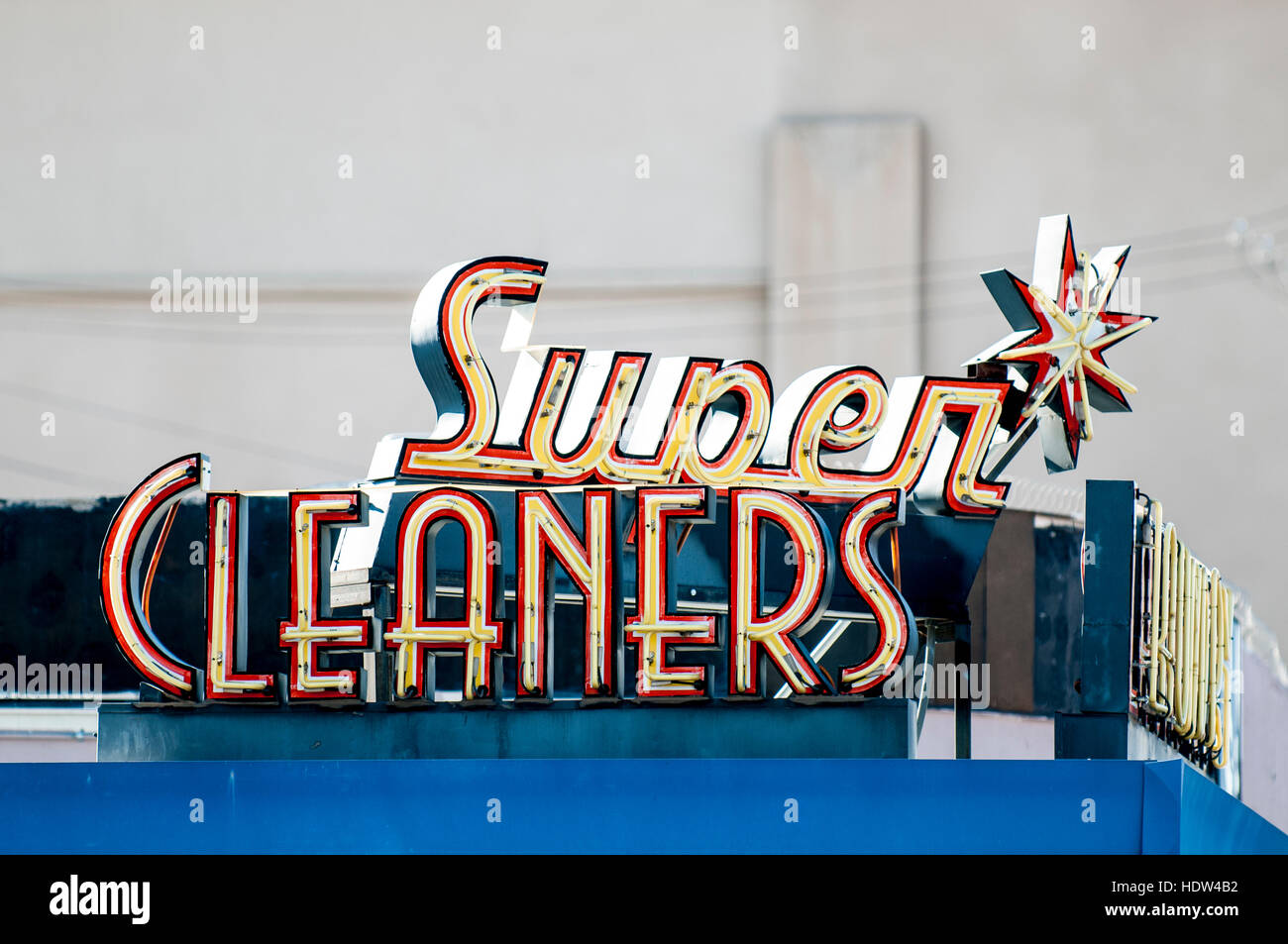Mid-Century Super Cleaners sign Las Vegas, Nevada. - Stock Image