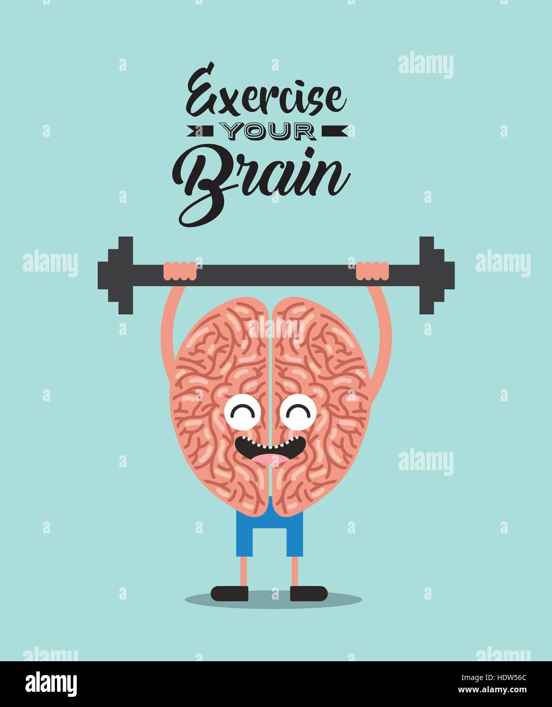 cartoon brain training lifting weights icon over background. colorful design. vector illustration - Stock Image