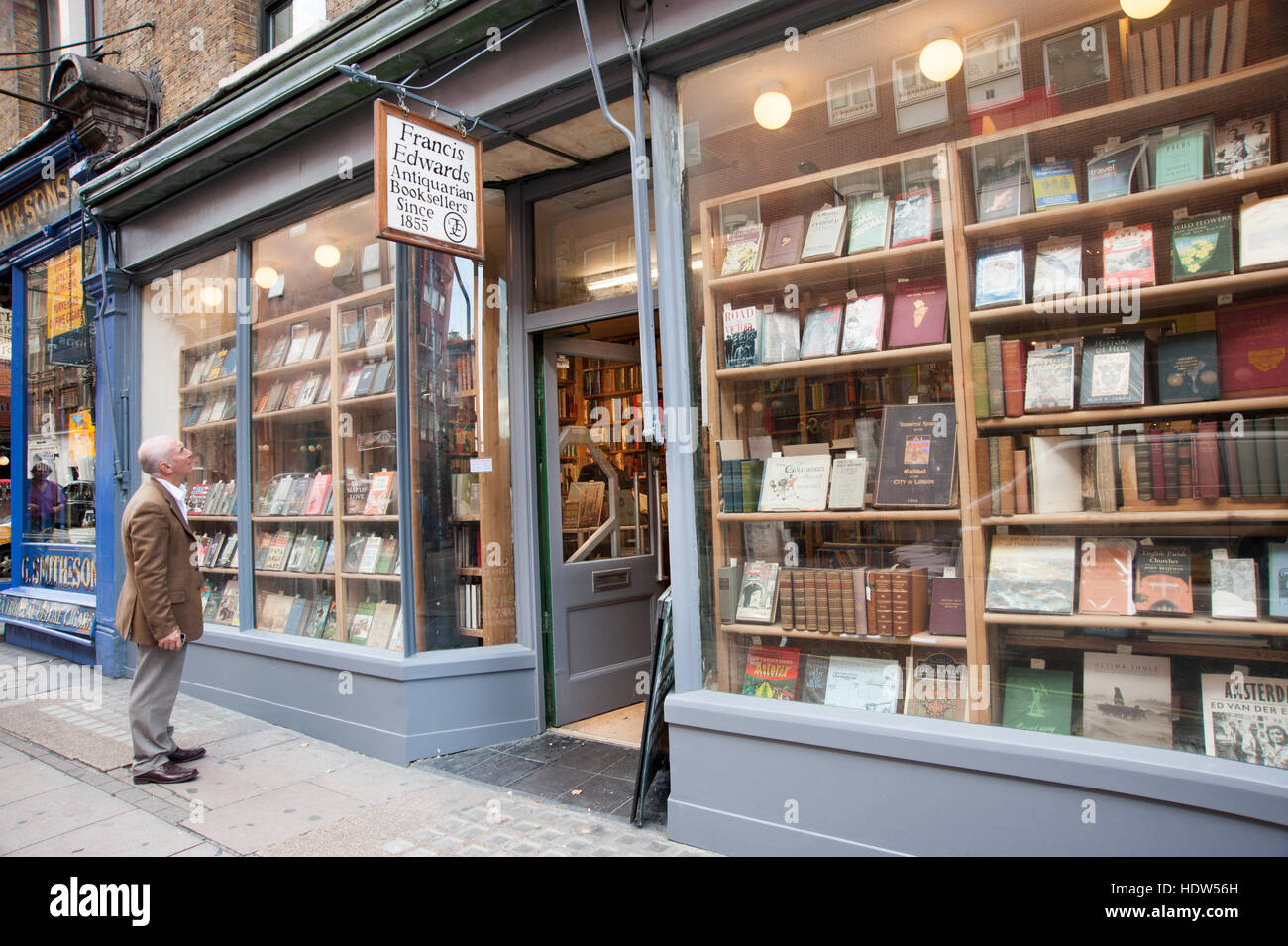 Francis Edwards Antiquarian bookshop in Charing Cross Road, London, England, UK - Stock Image
