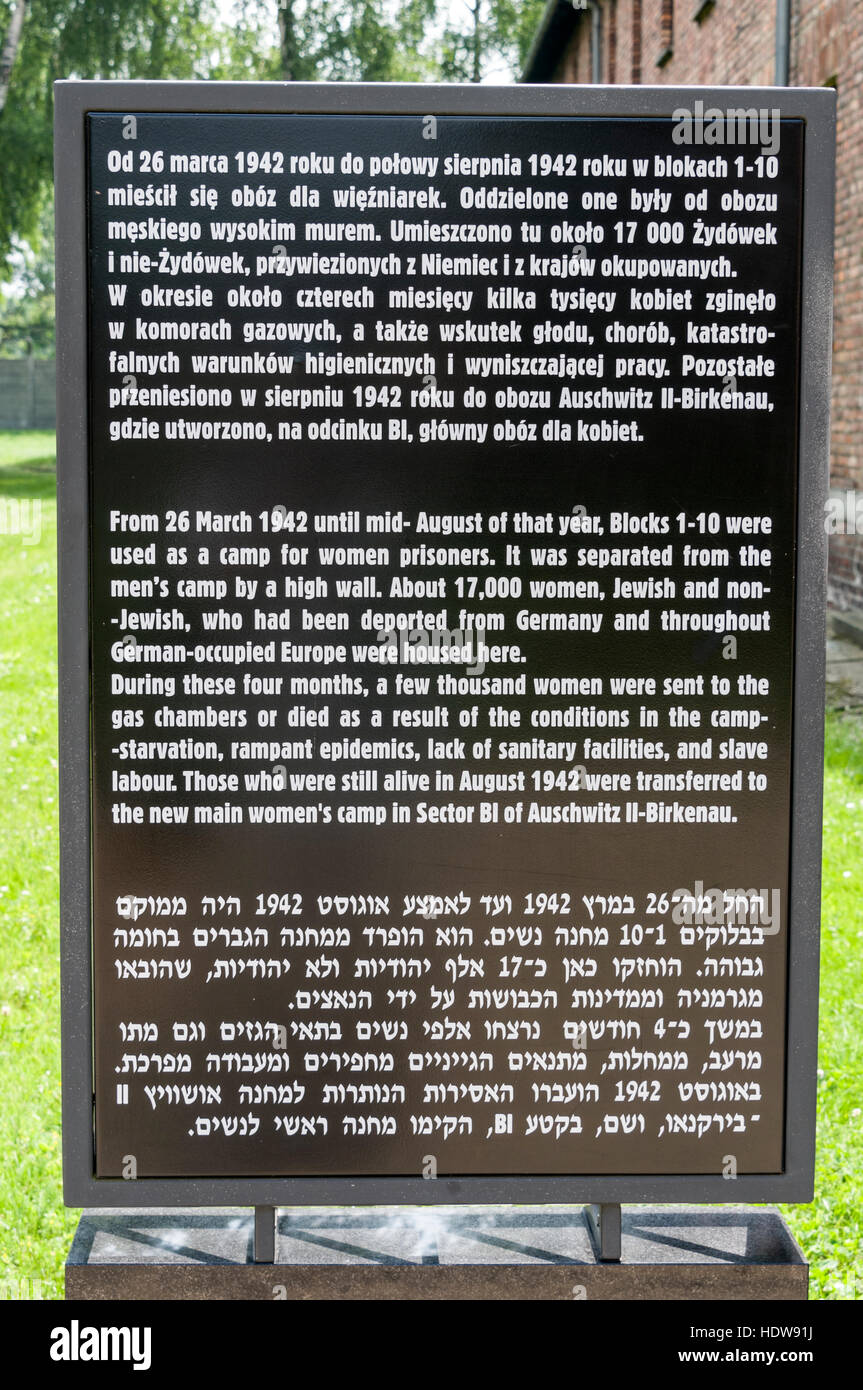 A visitor's information board at Auschwitz Birkenau, Oswiecim, Poland - Stock Image