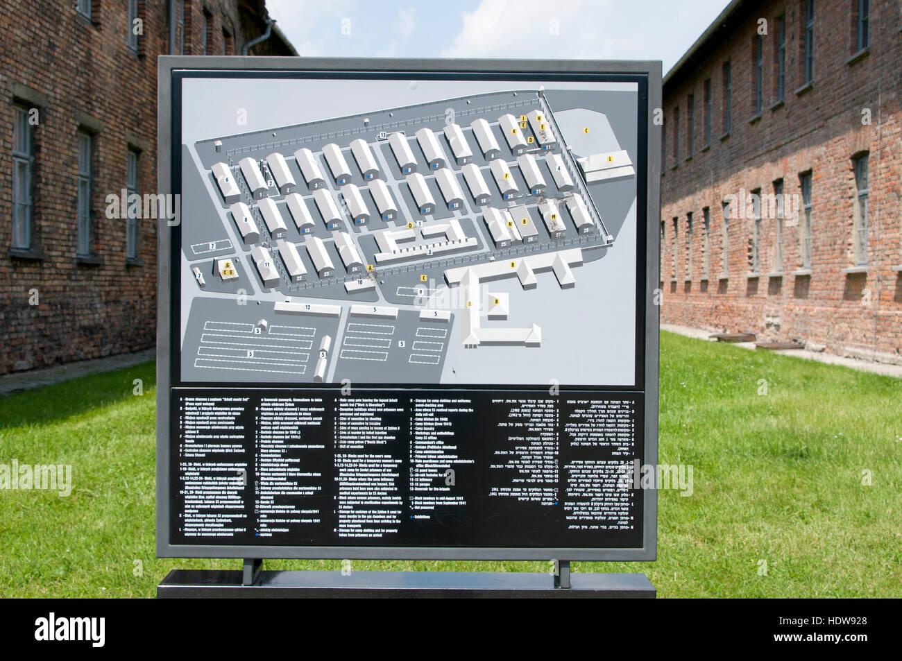 A Visitor S Map Of Auschwitz Birkenau In Oswiecim Poland Stock
