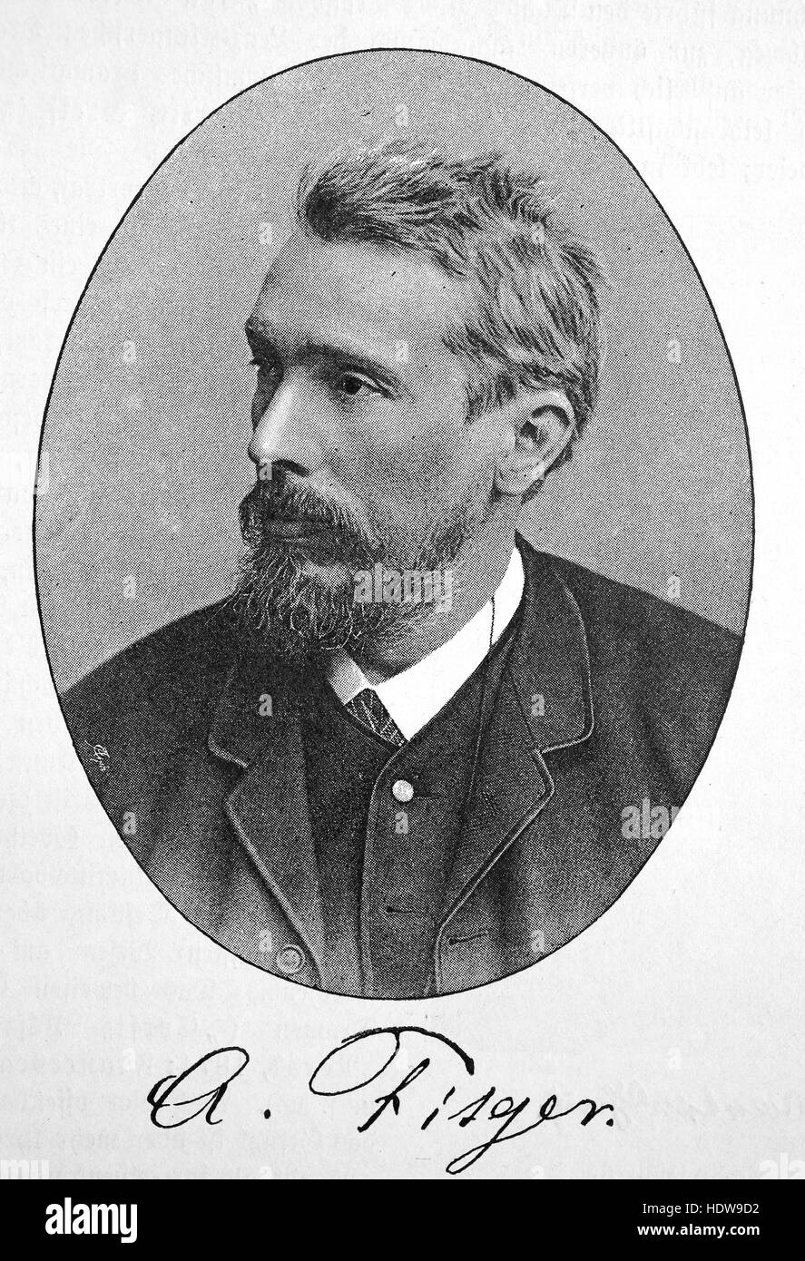 Arthur Heinrich Wilhelm Fitger, 1840 - 1909, German painter, art critic, playwright and poet, woodcut from the year - Stock Image