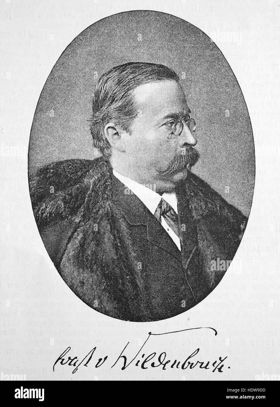 Ernst von Wildenbruch, 1845 - 1909, German poet and dramatist, woodcut from the year 1880 - Stock Image