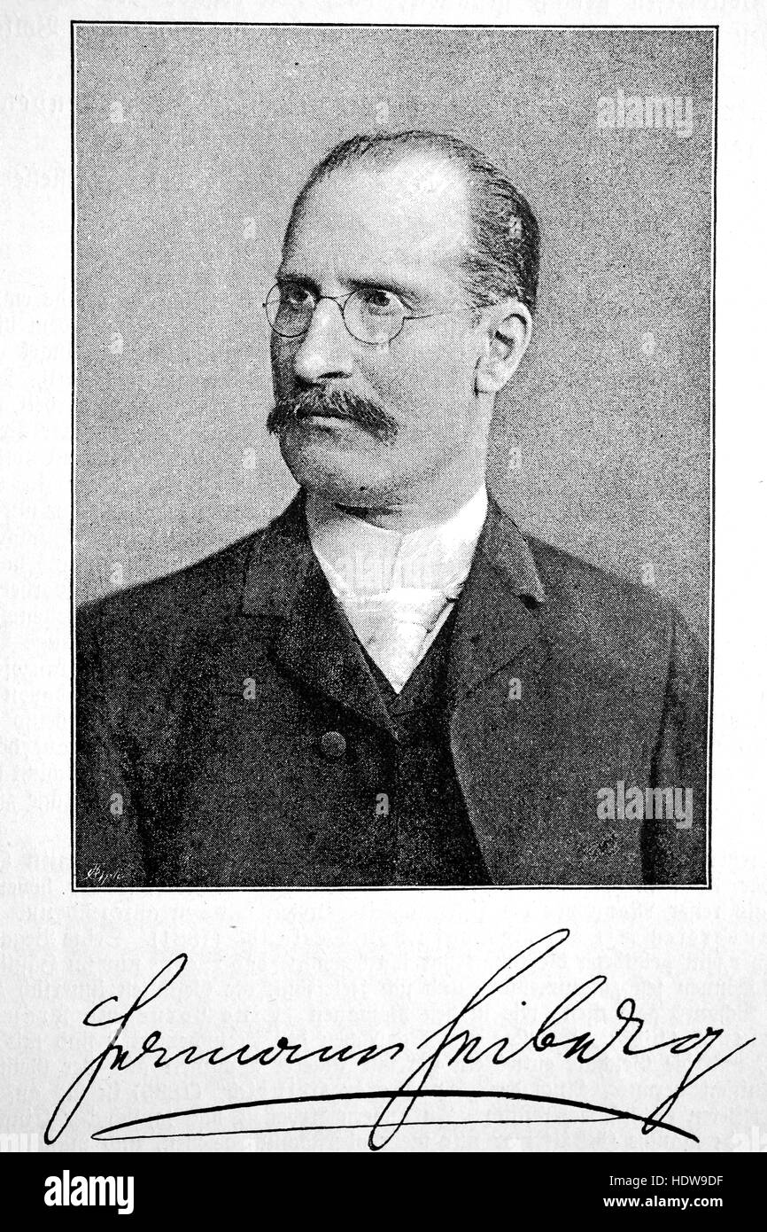 Hermann Heiberg, 1840 - 1910, german poet, woodcut from the year 1880 - Stock Image