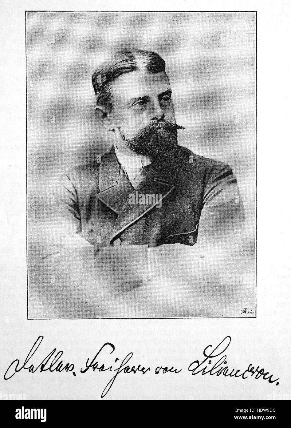 Baron Detlev von Liliencron born Friedrich Adolf Axel Detlev Liliencron, 1844-1909, German lyric poet and novelist - Stock Image