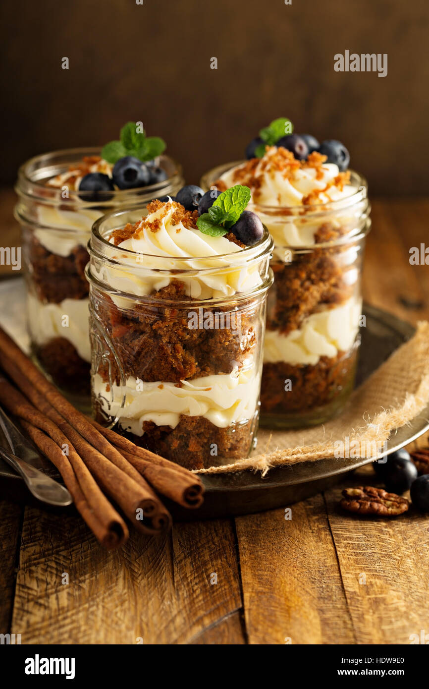 Carrot cake in a jar - Stock Image