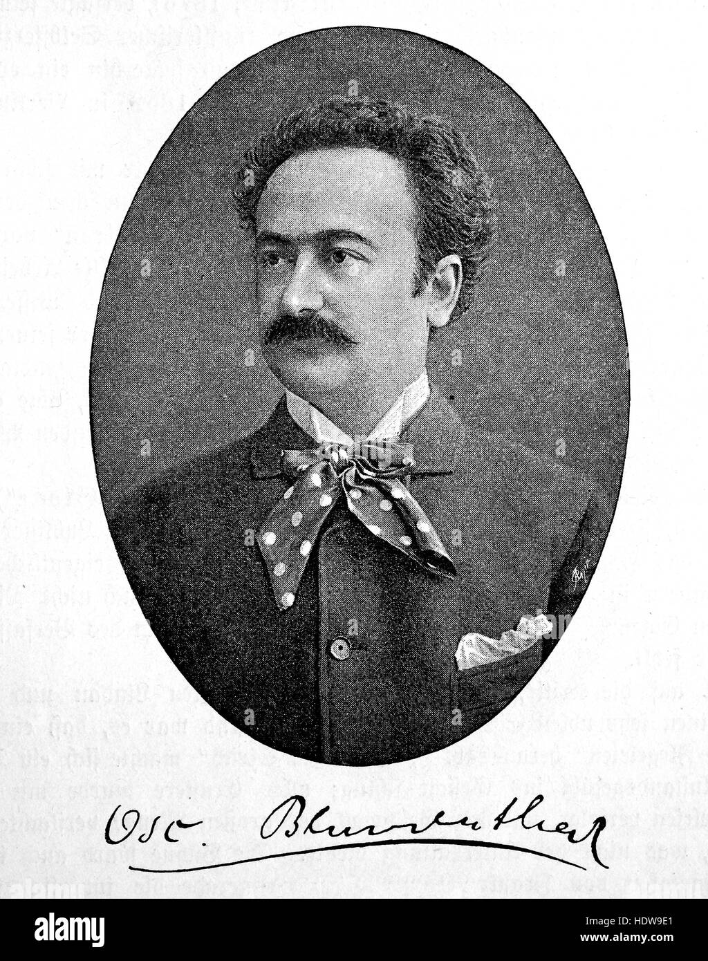 Oscar Blumenthal or Oskar Blumenthal, 1852-1917, German playwright and drama critic, woodcut from the year 1880 - Stock Image