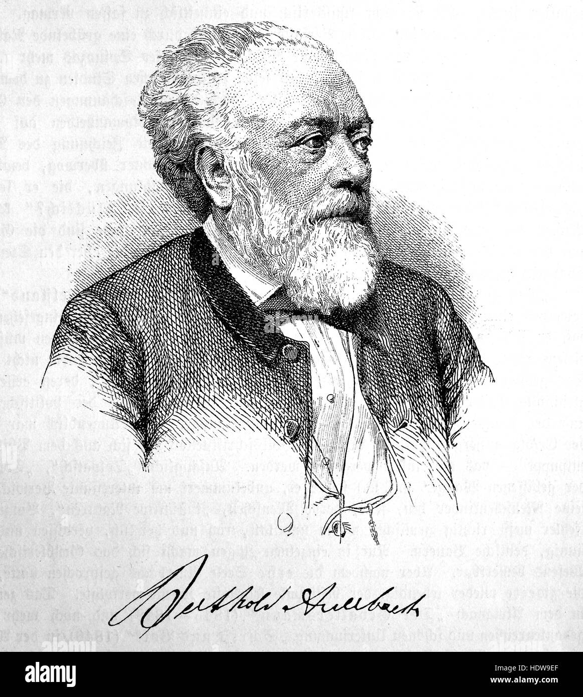 Berthold Auerbach, 1812-1882, a German-Jewish poet and author, woodcut from the year 1880 - Stock Image