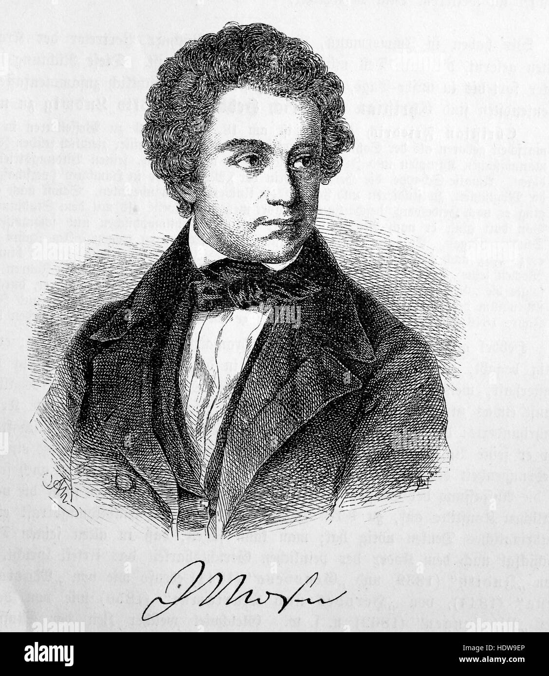 Julius Mosen, 1803-1867, a German poet and author of Jewish descent, woodcut from the year 1880 - Stock Image