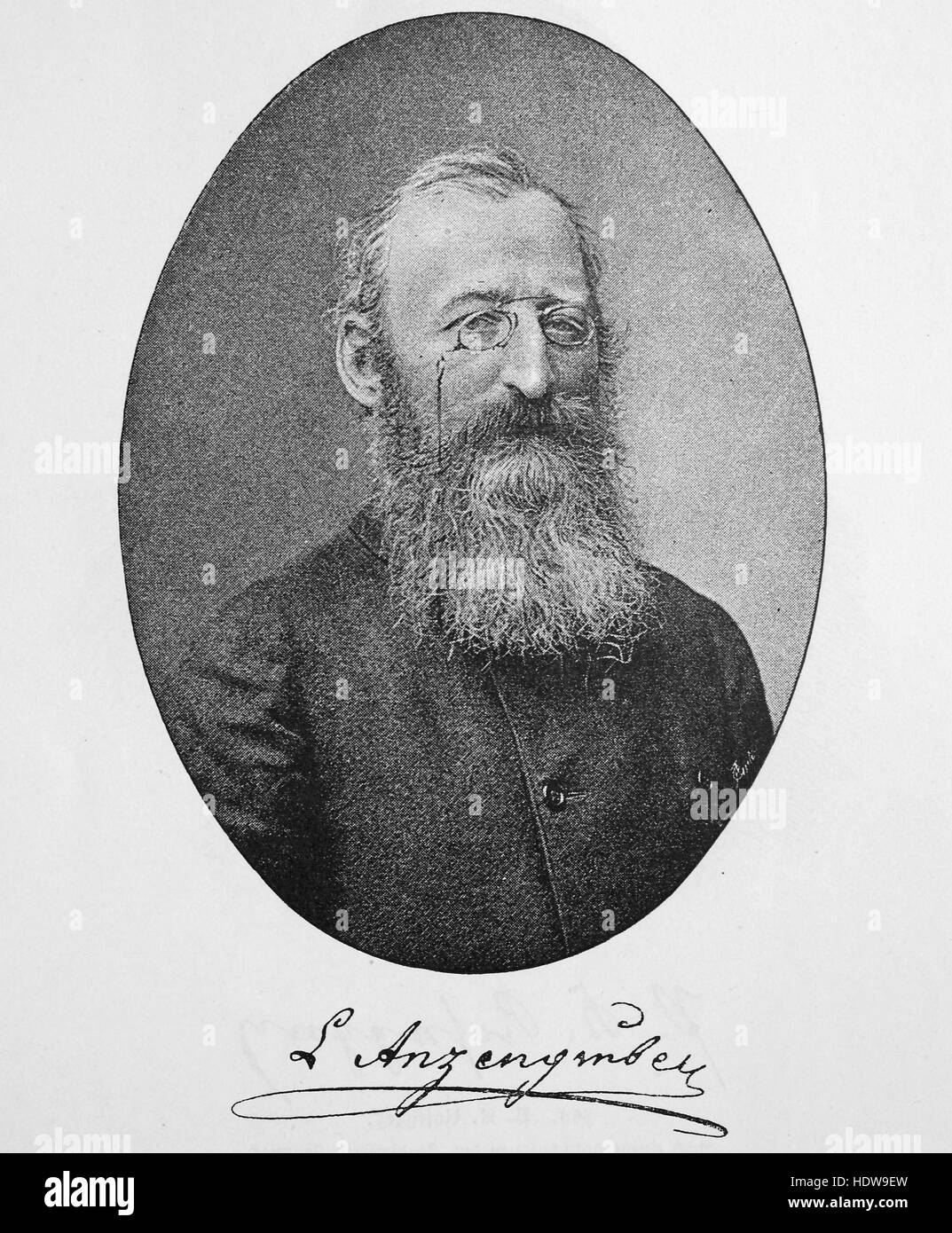 Ludwig Anzengruber, 1839-1889, an Austrian dramatist, novelist and poet, woodcut from the year 1880 - Stock Image