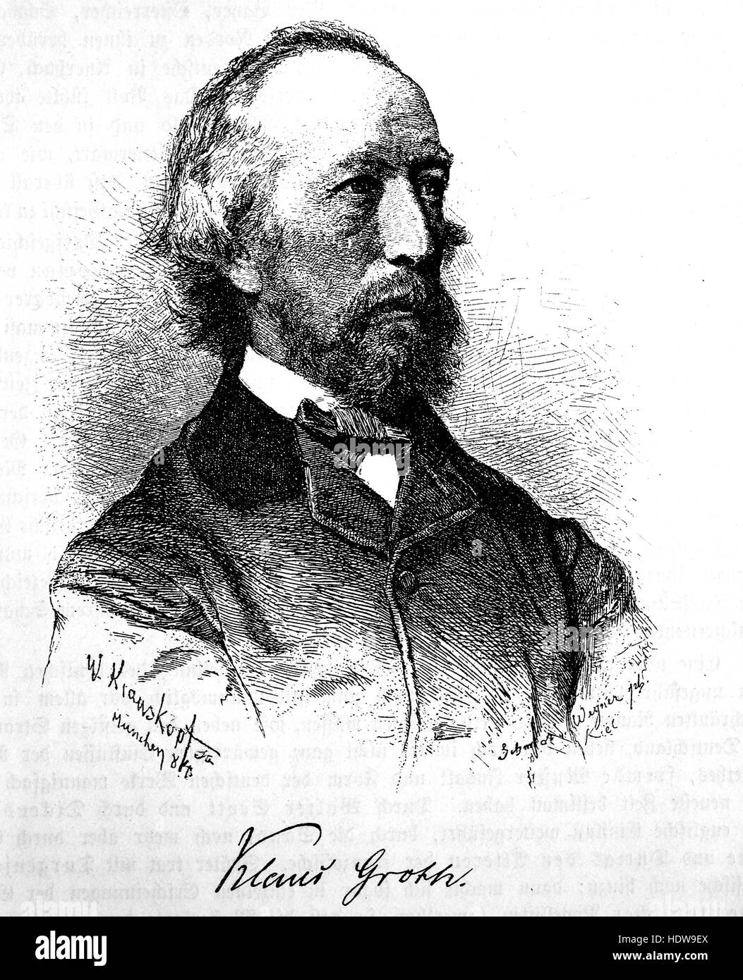 Klaus Groth, 1819-1899, a Low German poet, woodcut from the year 1880 - Stock Image