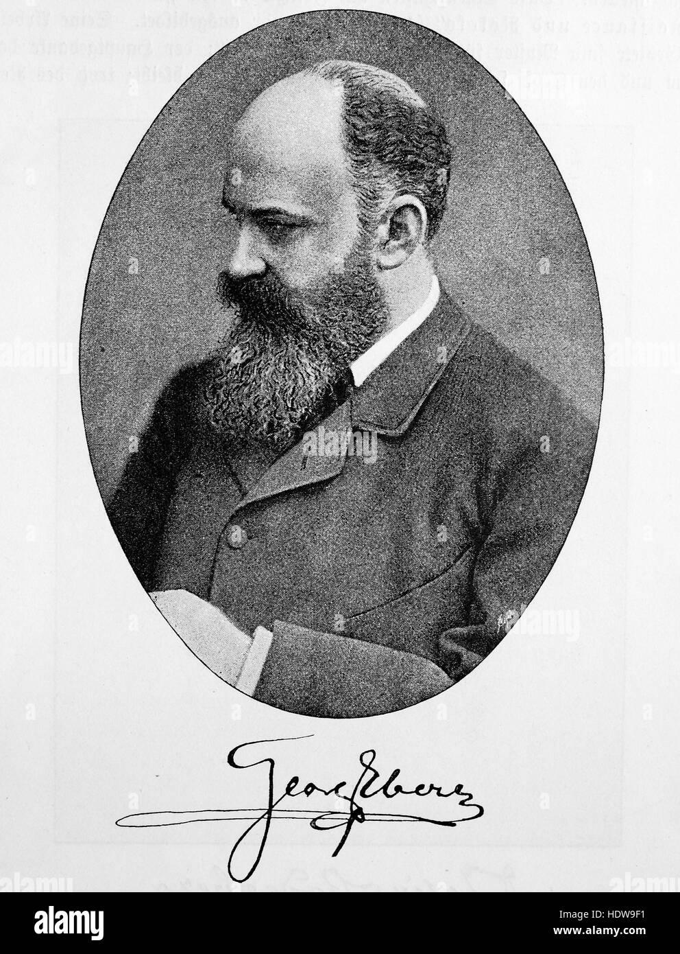 Georg Moritz Ebers, 1837-1898, German Egyptologist and novelist, woodcut from the year 1880 - Stock Image