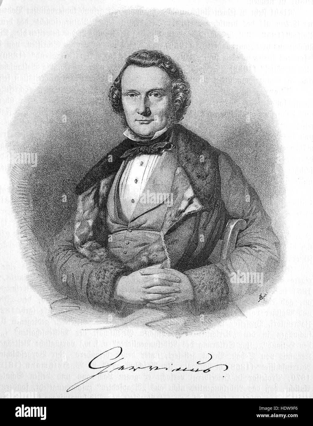 Georg Gottfried Gervinus, 1805-1871, a German literary and political historian, woodcut from the year 1880 - Stock Image