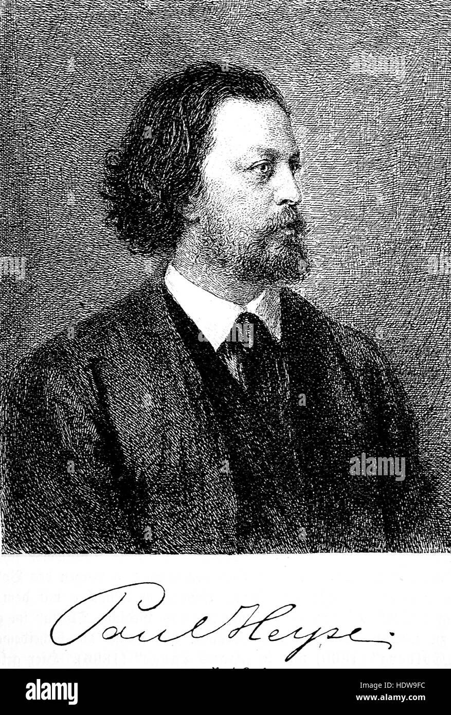 Paul Johann Ludwig von Heyse, 1830-1914, a German writer and translator, woodcut from the year 1880 - Stock Image
