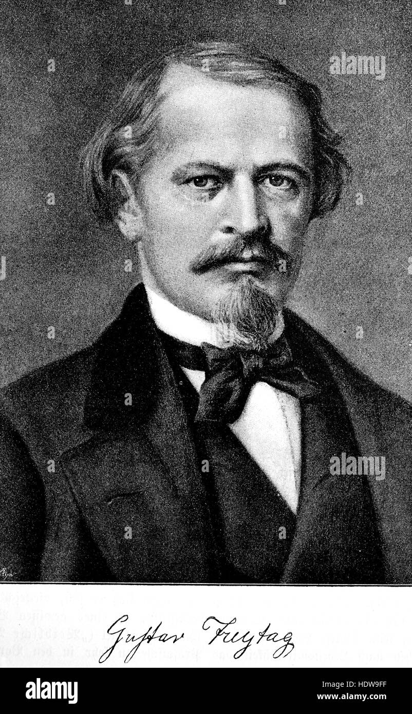 Gustav Freytag, 1816-1895, a German novelist and playwright, woodcut from the year 1880 Stock Photo