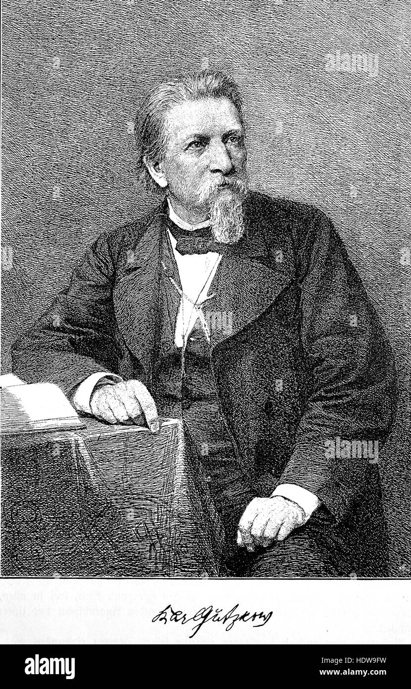Karl Ferdinand Gutzkow, 1811-1878, a German writer, woodcut from the year 1880 - Stock Image
