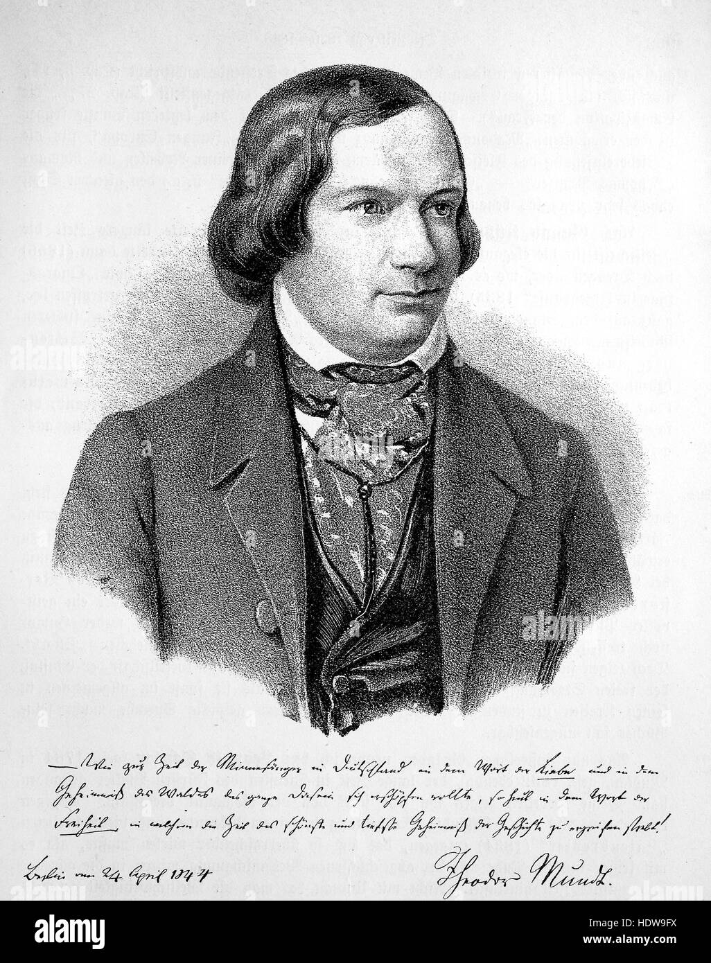Theodor Mundt, 1808-1861, a German critic and novelist, woodcut from the year 1880 - Stock Image