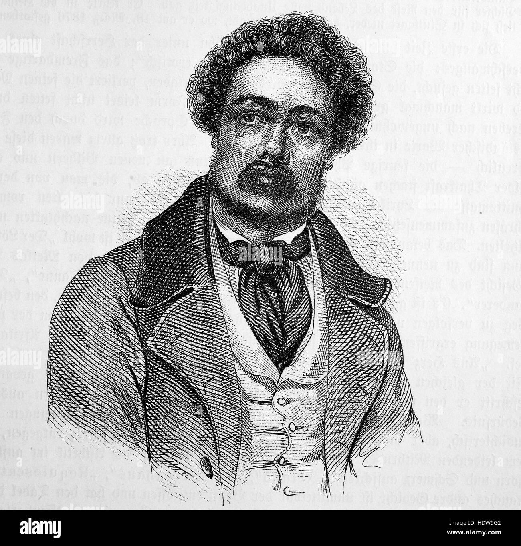 Ferdinand Freiligrath, 1810-1876, a German poet, translator and liberal agitator, woodcut from the year 1880 - Stock Image