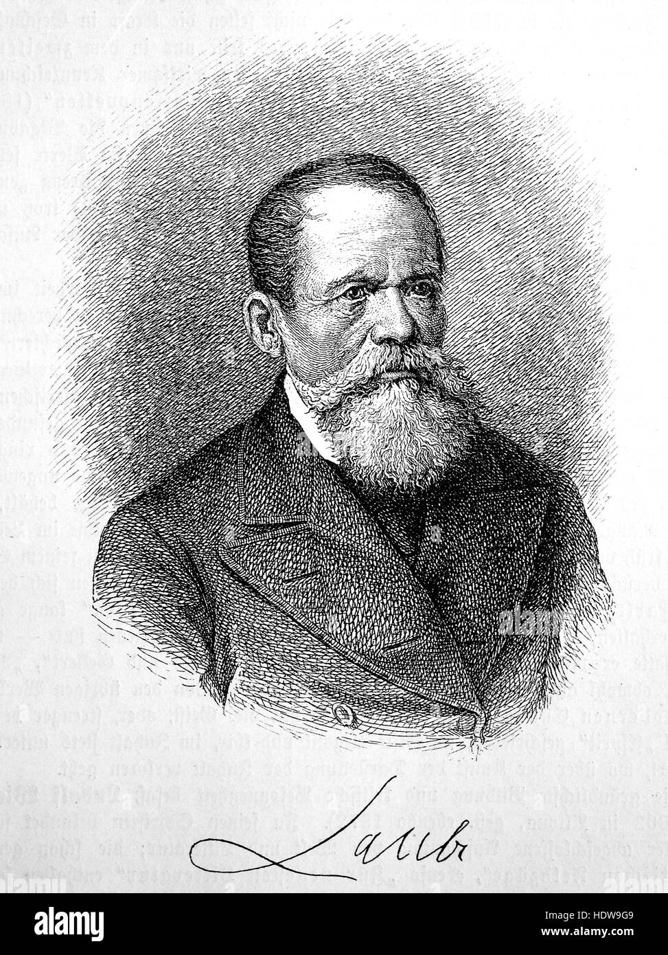 Heinrich Laube,  1806-1884, German dramatist and novelist , woodcut from the year 1880 - Stock Image