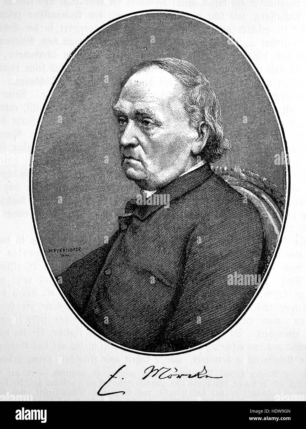 Eduard Friedrich Moerike, 1804-1875, a German Romantic poet and writer of novellas and novels, woodcut from the - Stock Image