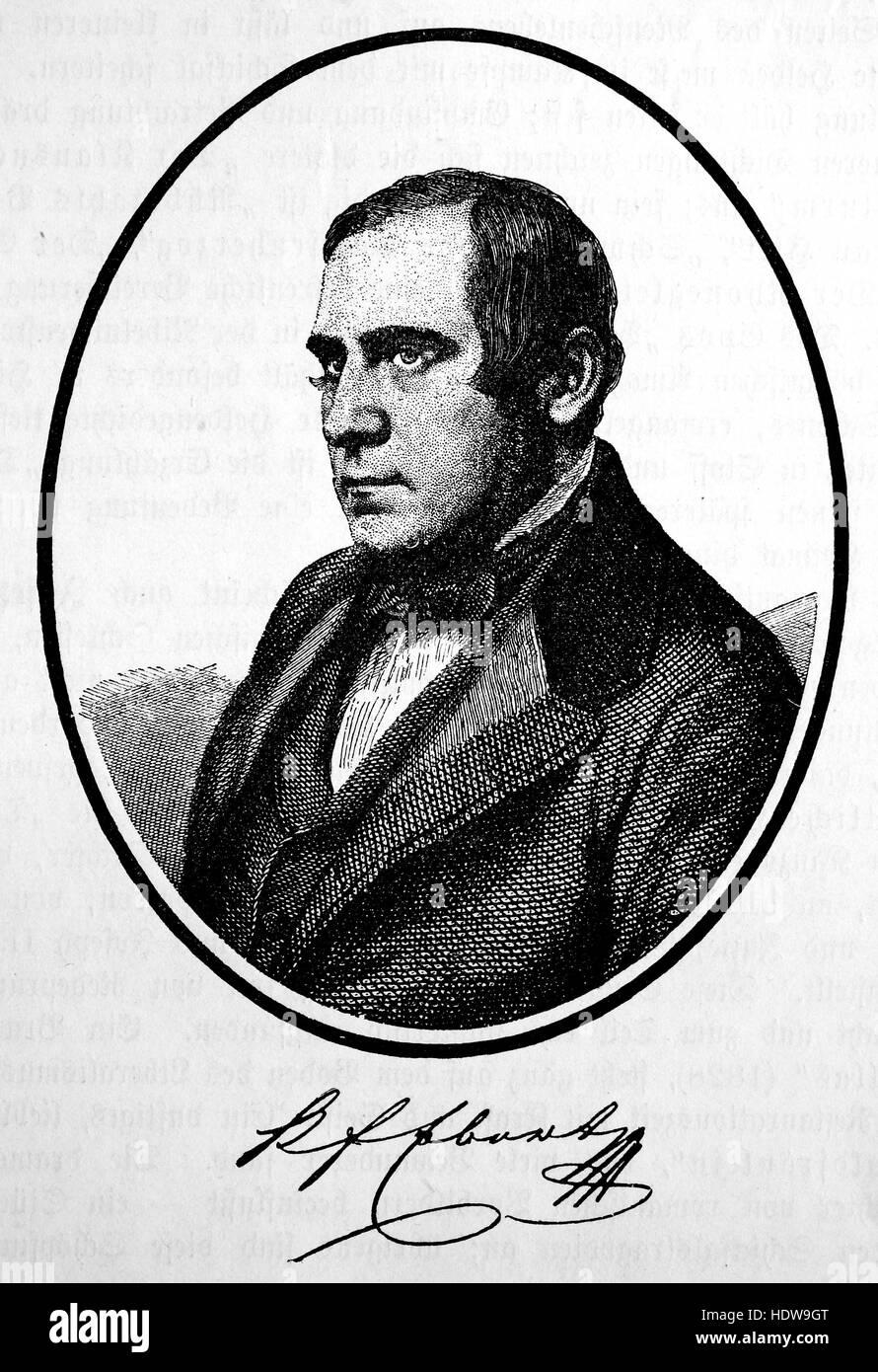 Karl Egon Ebert, 1801-1882, a Bohemian German poet, woodcut from the year 1880 - Stock Image