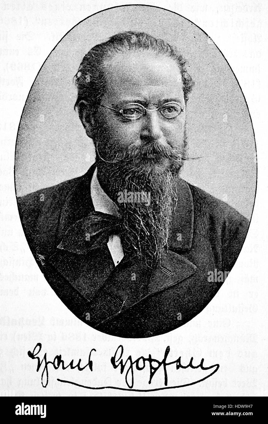 Demetrius Hans Hopfen, 1835-1904, a Bavarian poet and novelist, woodcut from the year 1880 - Stock Image