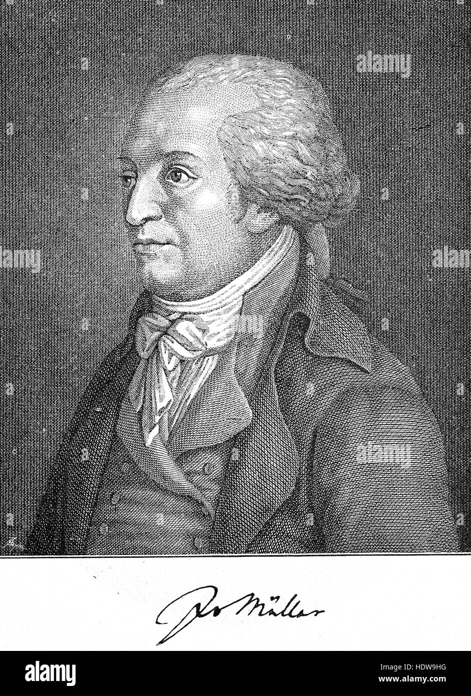 Johannes von Mueller, 1752-1809, a Swiss historian, woodcut from the year 1880 - Stock Image