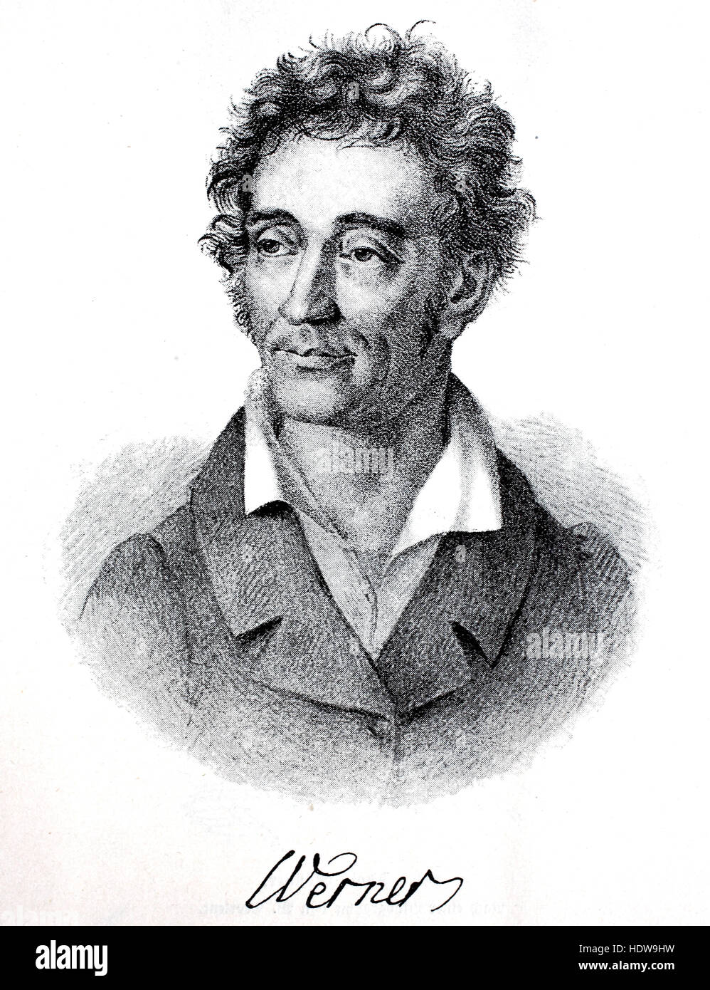 Friedrich Ludwig Zacharias Werner, 1768-823, a German poet, dramatist and preacher, woodcut from the year 1880 - Stock Image
