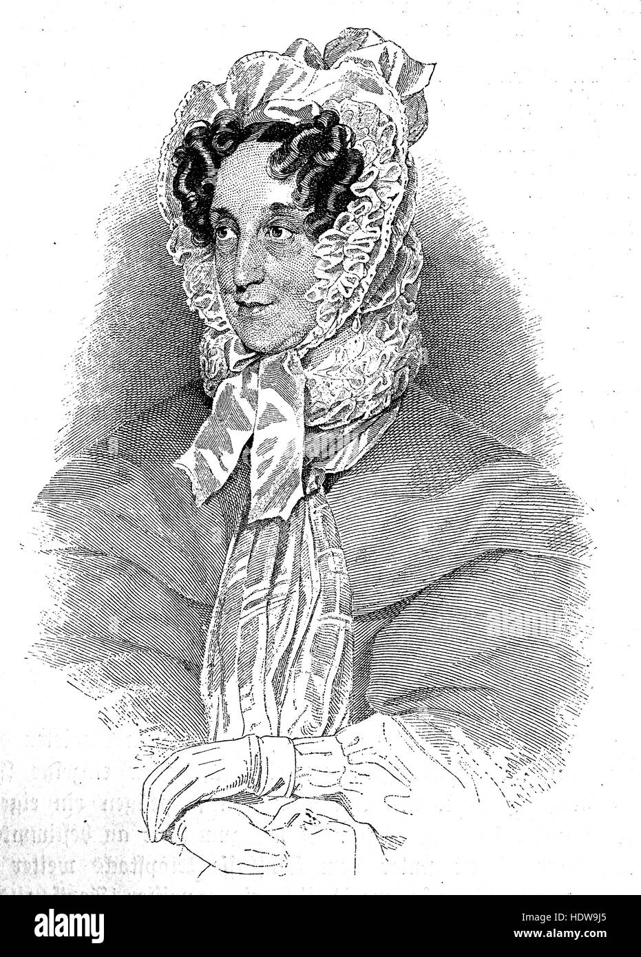 Karoline Pichler or Caroline Pichler, 1769-1843, an Austrian novelist, woodcut from the year 1880 - Stock Image