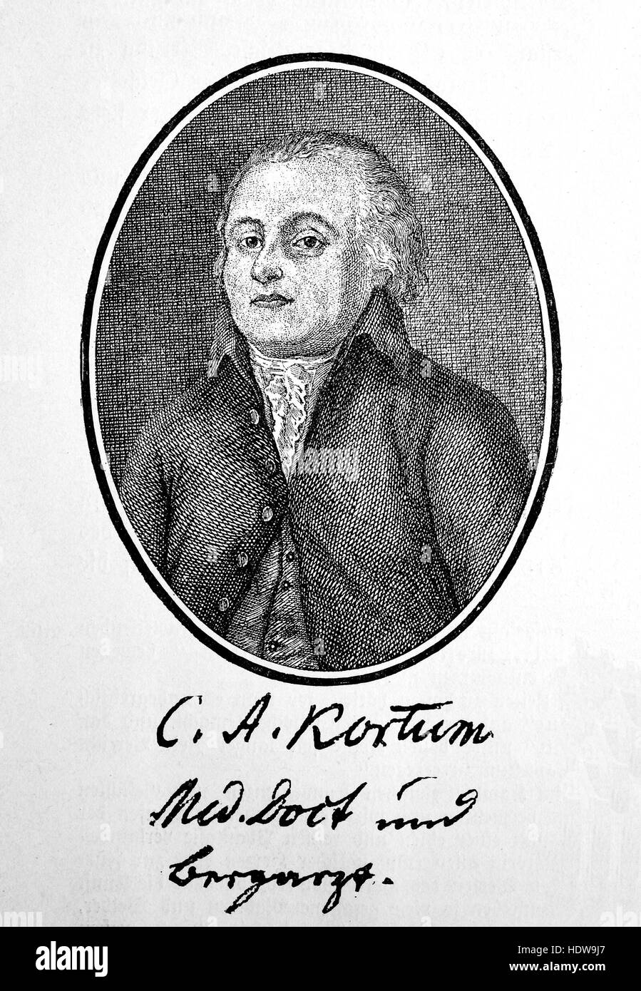Carl Arnold Kortum, 1745-1824, a German physician, but best known for his writing and poetry, woodcut from the year - Stock Image