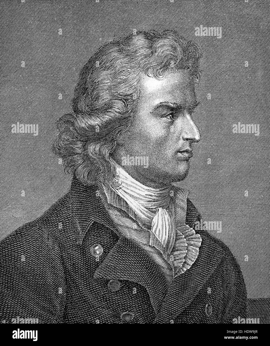 Johann Christoph Friedrich von Schiller, 1759-1805, a German poet, philosopher, physician, historian and playwright, - Stock Image