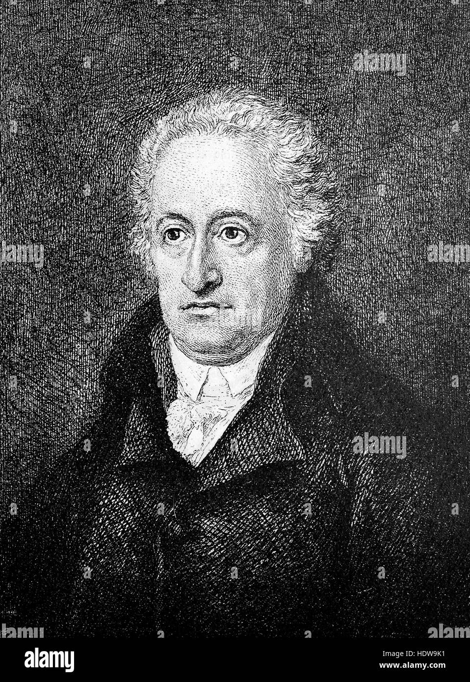 Johann Wolfgang von Goethe 57 years old, 1749-1832, a German writer and statesman, woodcut from the year 1880 - Stock Image