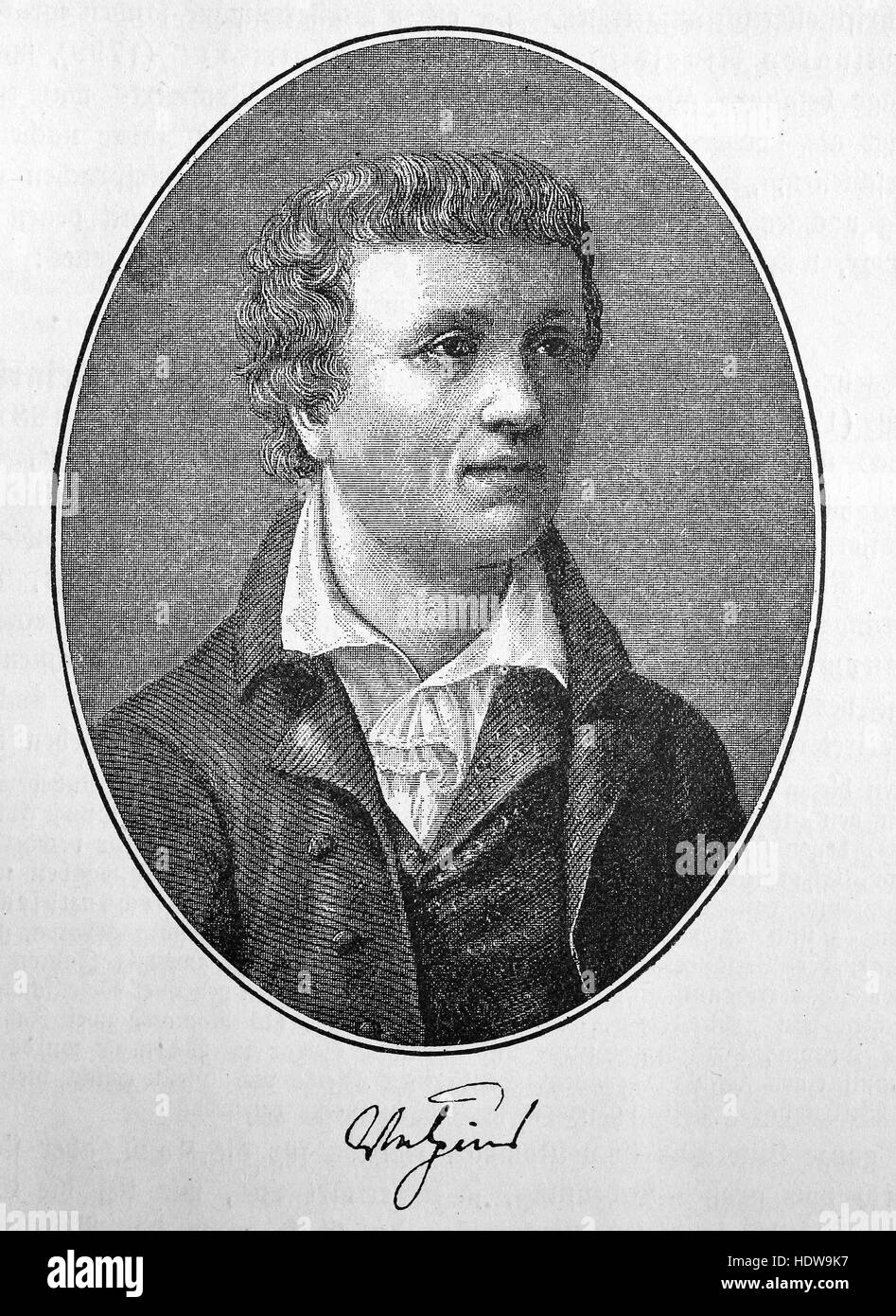 Christian August Vulpius,1762-1827, a German novelist and dramatist, woodcut from the year 1880 - Stock Image