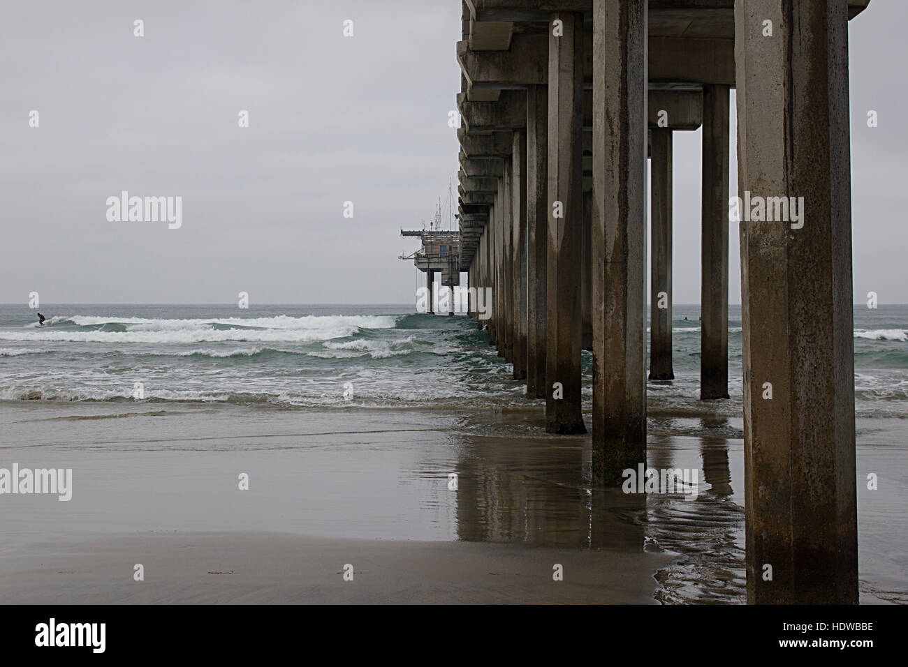 Side of the concrete Scripps Piers in La Jolla with ocean waves. Stock Photo