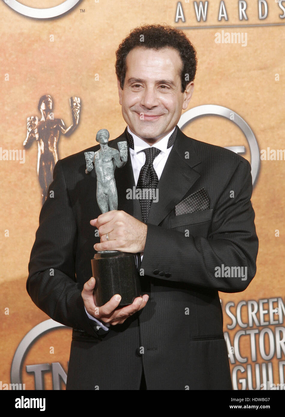 Tony Shalhoub holds the award for outstanding performance by a male actor in a comedy series for his work in 'Monk,' - Stock Image