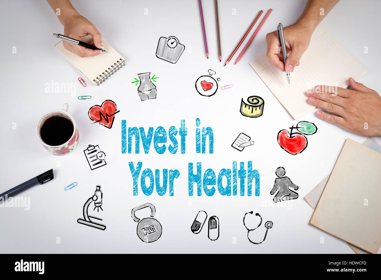Invest in your health concept. Healty lifestyle background. The meeting at the white office table. Stock Photo