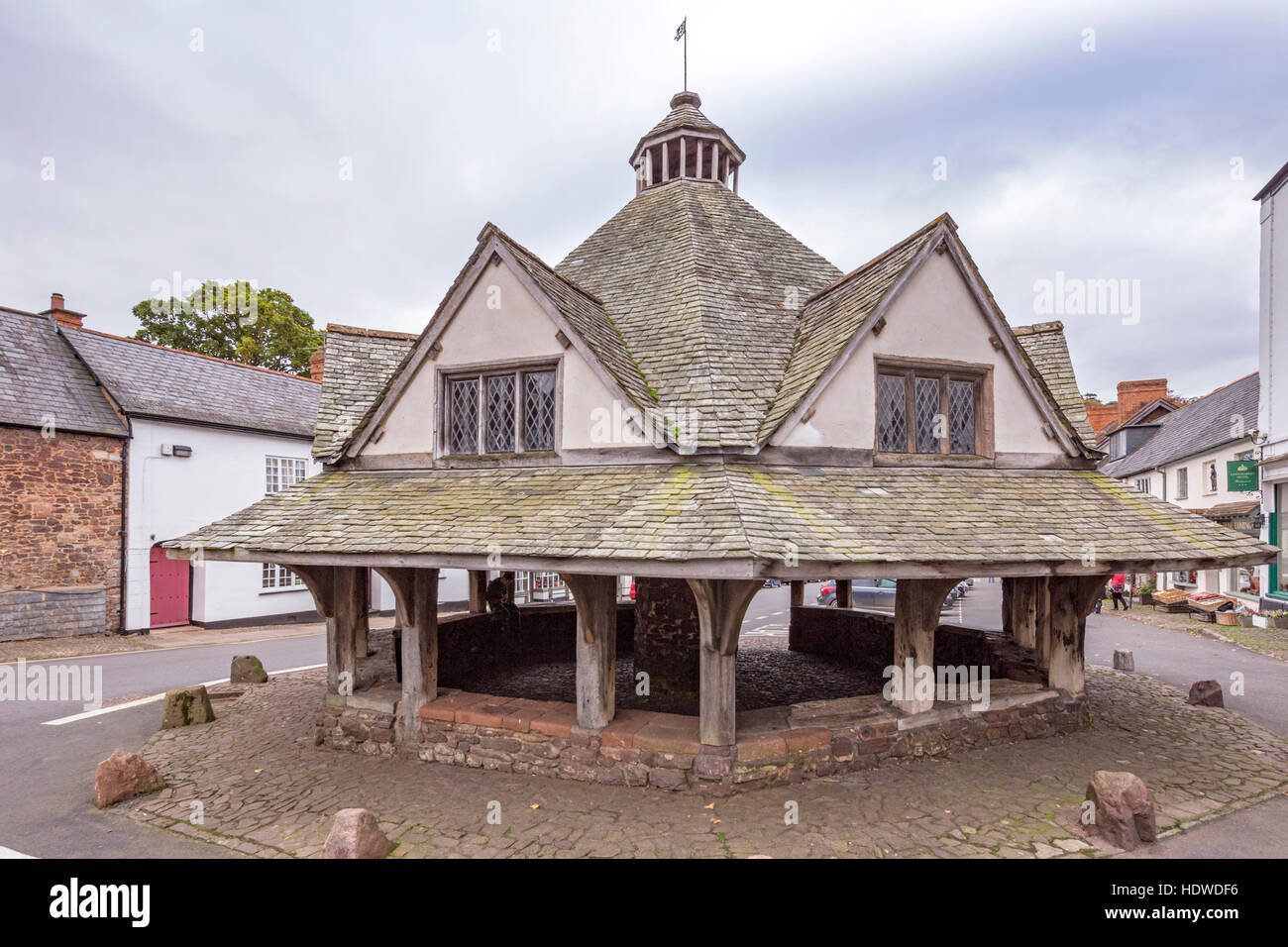 The octagonal Yarn Market in Dunster a Grade I listed building and scheduled ancient monument, Somerset, England, - Stock Image
